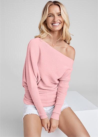 One Shoulder Rib Sweater