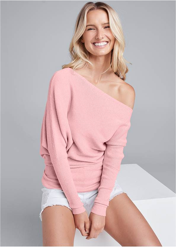 One-Shoulder Ribbed Sweater,Distressed Jean Shorts,Double Strap Cork Wedge,Long Circle Earrings