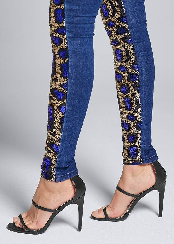 Detail side view Sequin Leopard Print Jeans
