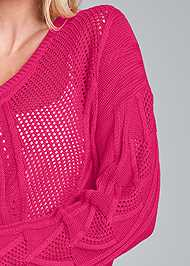 Detail front view Oversized Cable Knit Sweater