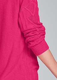 Detail back view Oversized Cable Knit Sweater