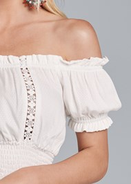 Detail front view Off Shoulder Tiered Dress