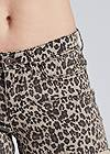Detail front view Cuffed Leopard Jean Shorts