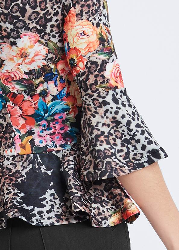 Detail back view Floral And Leopard Print Peplum Top