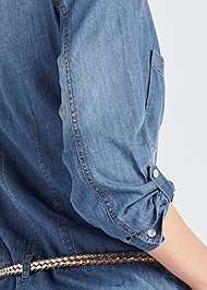 Detail back view Belted Chambray Mini Dress