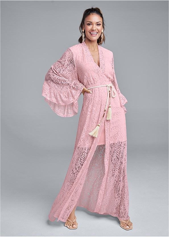 Kimono Sleeve Maxi Dress,Thong Strap Kitten Heel
