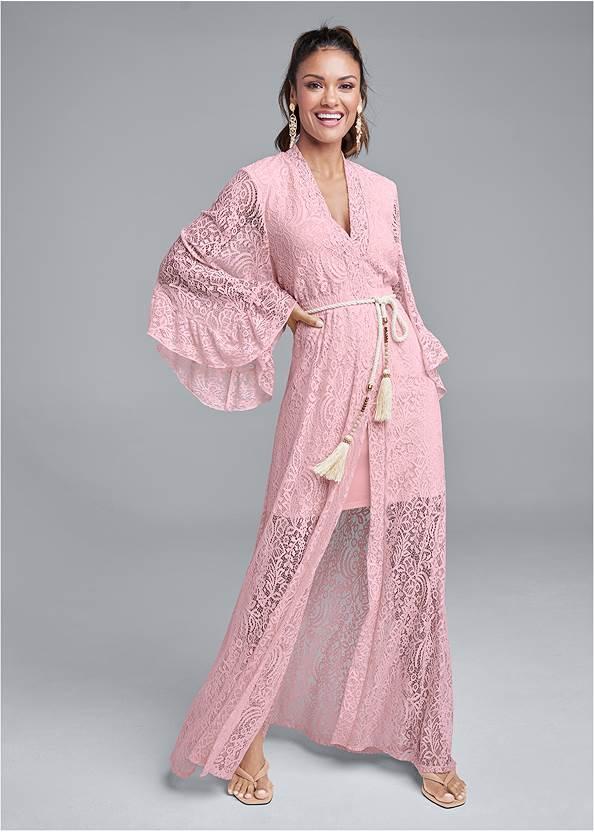 Kimono Sleeve Maxi Dress,Pearl™ By Venus Strappy Plunge Bra,Thong Strap Kitten Heels