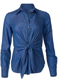 Ghost with background  view Chambray Knot Twist Top