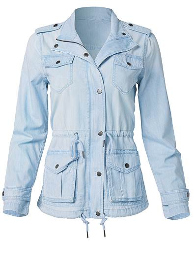 Plus Size Jean Cargo Jacket