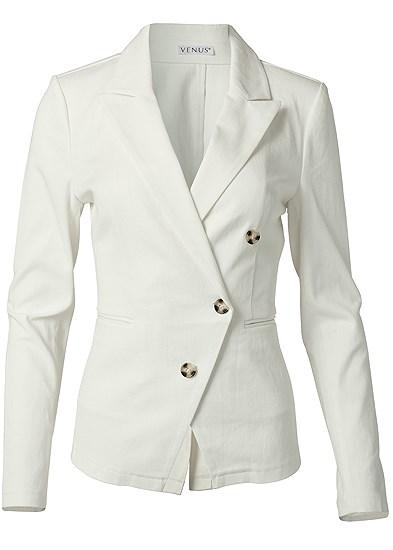 Plus Size Twill Button Front Blazer