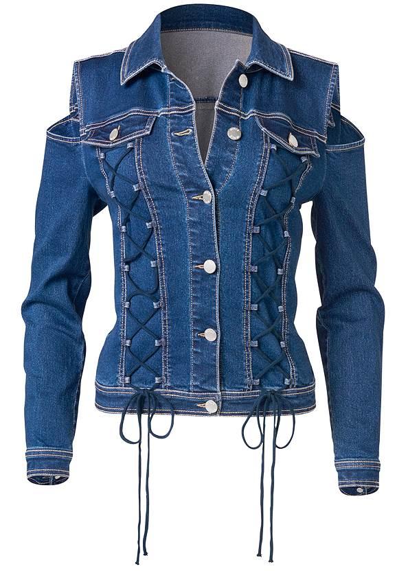 Alternate View Cold Shoulder Jean Jacket