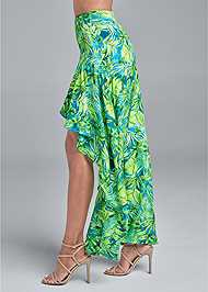 Waist down side view Palm Print High Low Skirt
