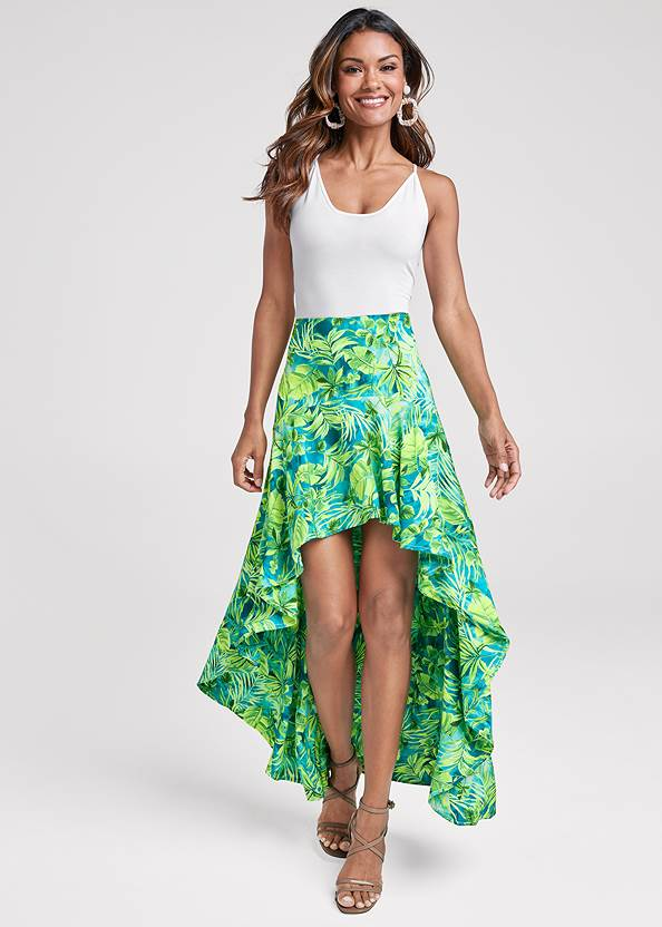 Palm Print High Low Skirt