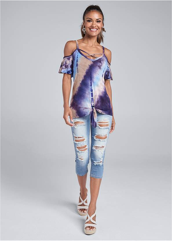Full front view Tie Dye Cold Shoulder Top