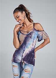 Cropped front view Tie Dye Cold Shoulder Top
