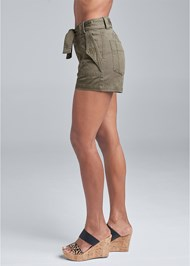 Waist down side view Belted Utility Shorts