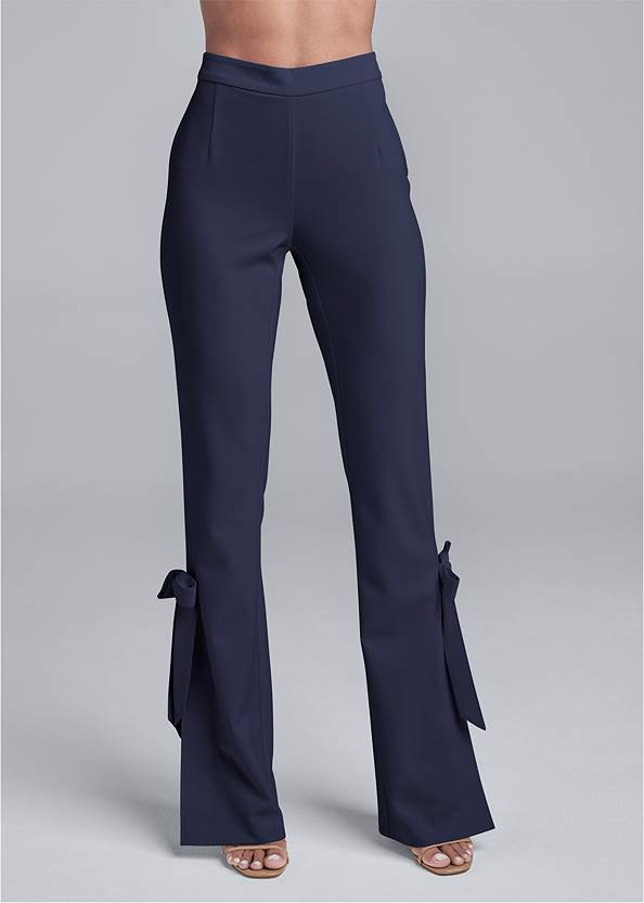 Waist down front view Smoothing Tie Bow Hem Pants