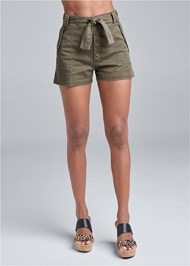 Waist down front view Belted Utility Shorts