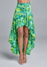 Waist down front view Palm Print High Low Skirt