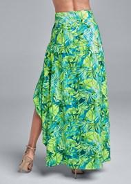 Waist down back view Palm Print High Low Skirt