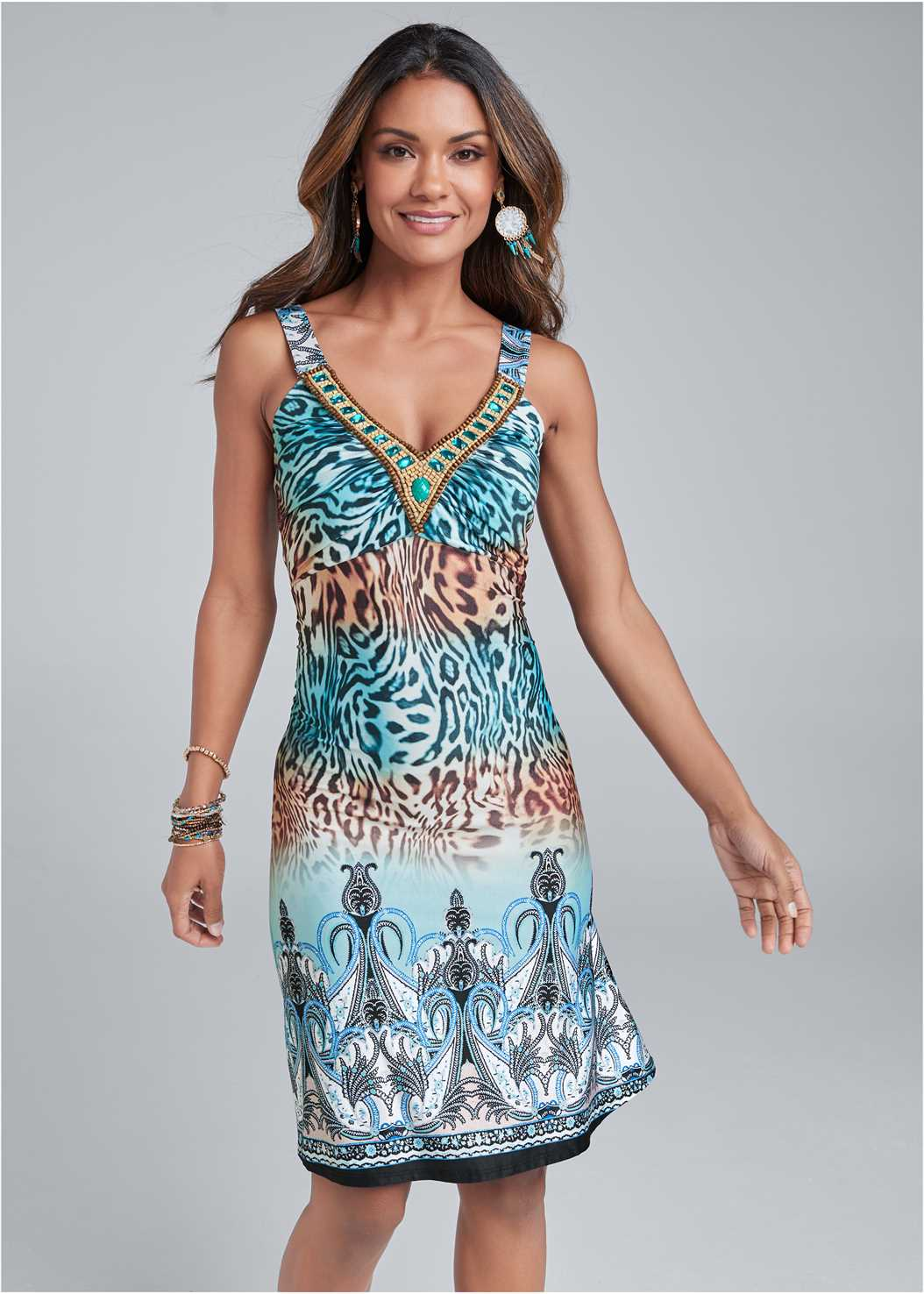 Embellished Animal Print Mini Dress