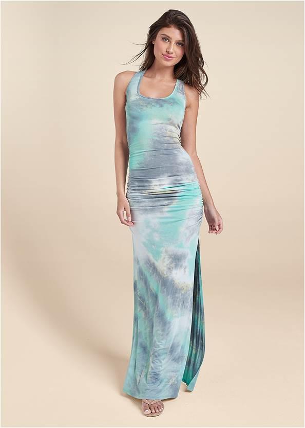 Front View Strappy Back Tie Dye Maxi Dress