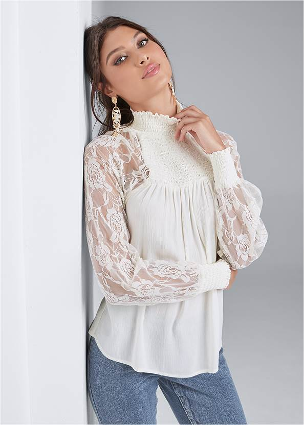 Lace Sleeve Smocked Top,Mid Rise Color Skinny Jeans,High Heel Strappy Sandals