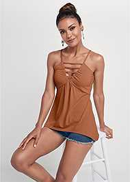 Cropped front view Strappy Sleeveless Top