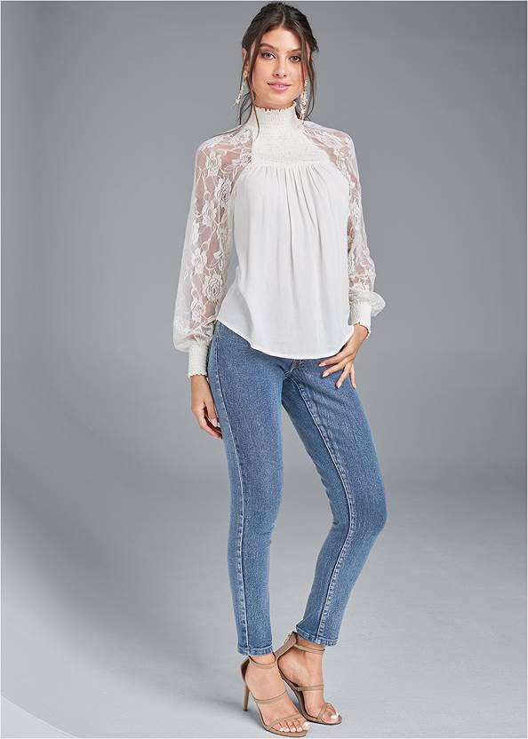 Full front view Lace Sleeve Smocked Top