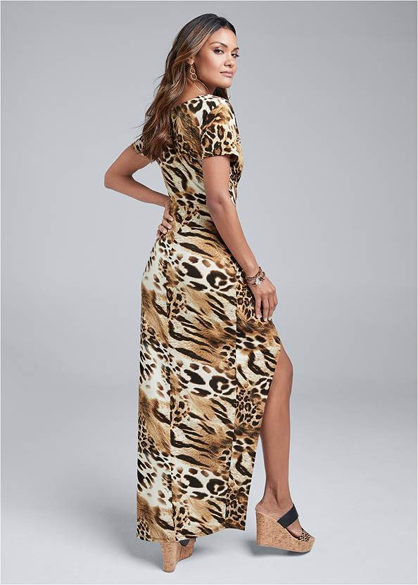 Full back view Animal Print Maxi Dress