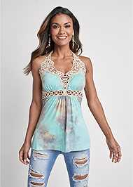 Cropped front view Tie Dye Lace Top