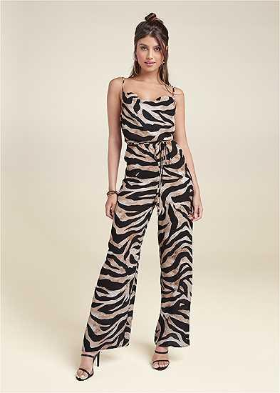 Wide Leg Tiger Print Jumpsuit