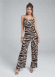 Full front view Wide Leg Tiger Print Jumpsuit