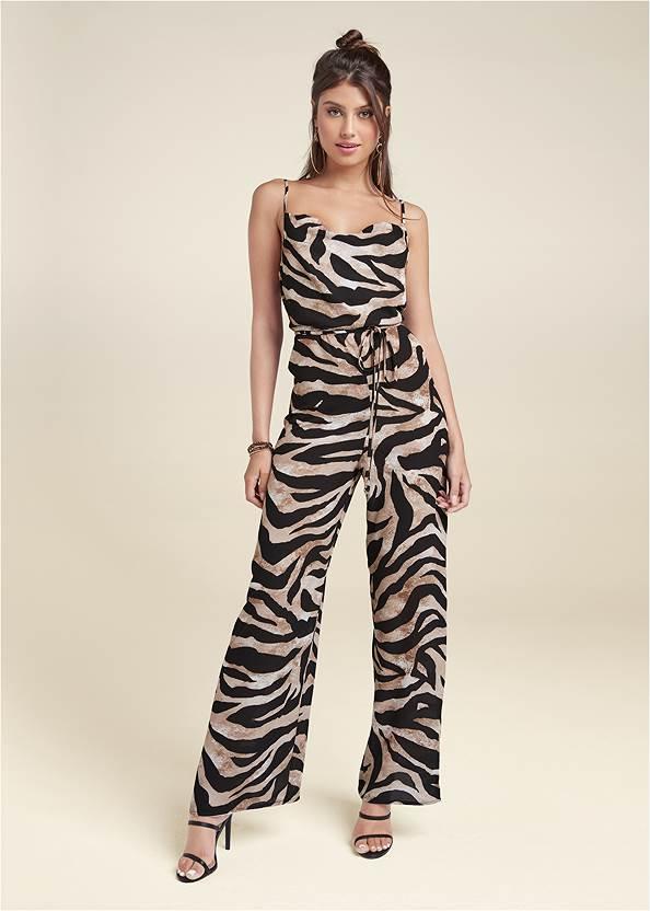 Wide Leg Tiger Print Jumpsuit,High Heel Strappy Sandals,Animal Chain Crossbody Bag,Buckle Detail Booties,Coin Tassel Earrings