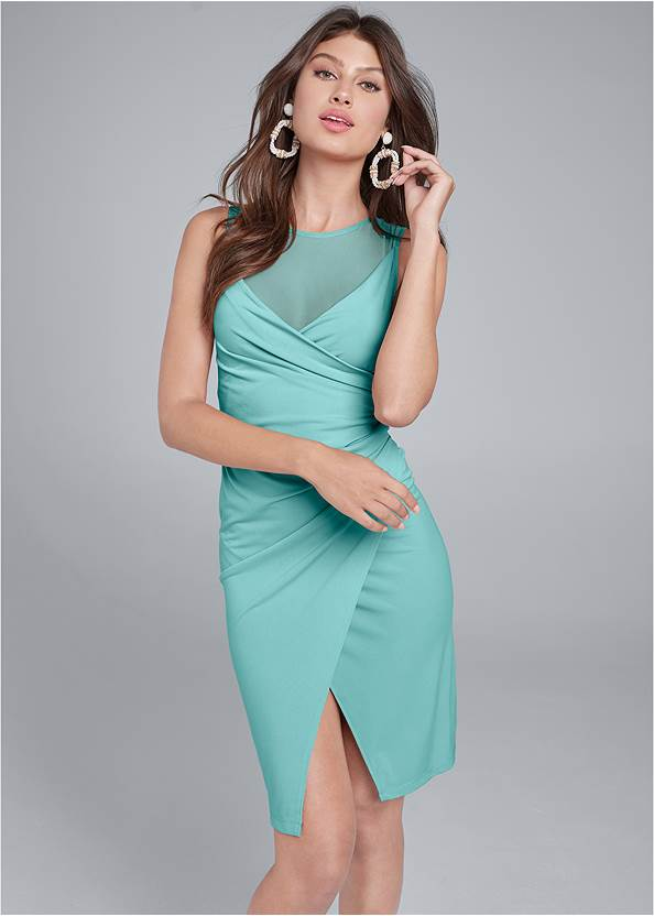 Faux Wrap Dress,High Heel Strappy Sandals