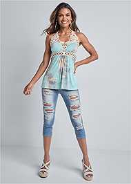 Full front view Tie Dye Lace Top
