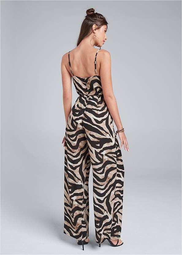 Full back view Wide Leg Tiger Print Jumpsuit
