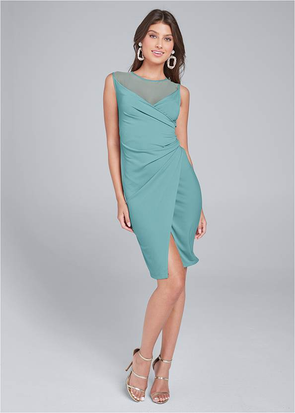 Full front view Faux Wrap Dress