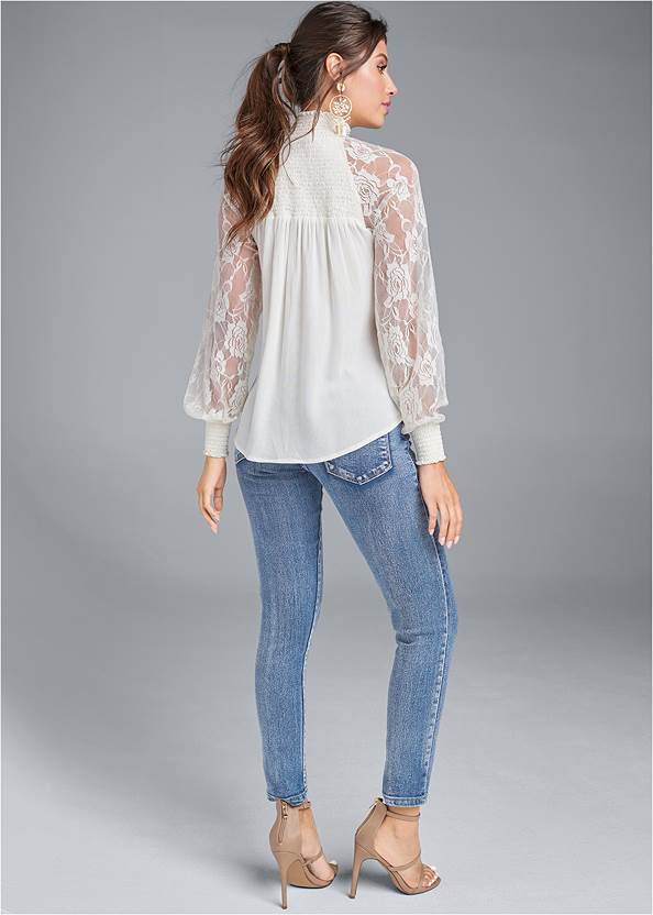 Full back view Lace Sleeve Smocked Top