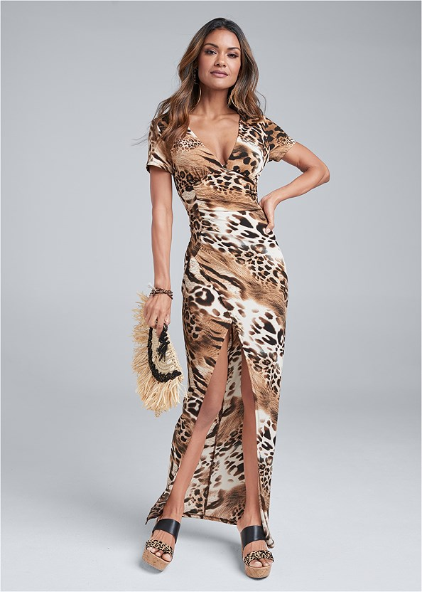 Animal Print Maxi Dress,Double Strap Cork Wedge