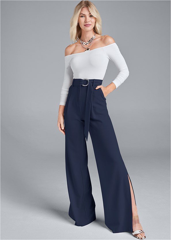 Smoothing Belted Side Slit Pants,Off The Shoulder Top,Pleated Tote Bag