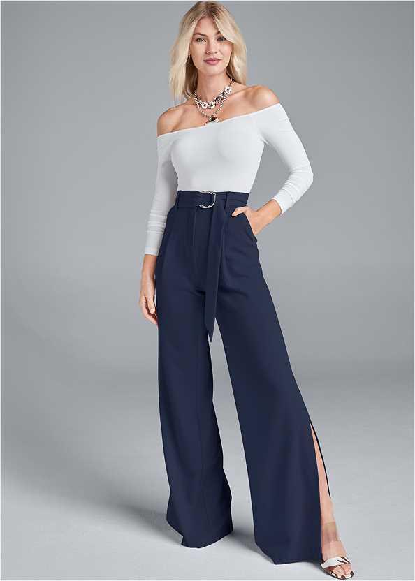 Smoothing Belted Side Slit Pants,Off The Shoulder Top,Pleated Tote Bag