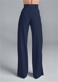 Waist down back view Smoothing Belted Side Slit Pants