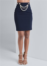 Waist down front view Smoothing Chain Belt Pencil Skirt