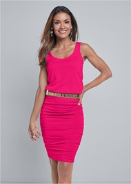 Cropped front view Scoop Neck Ruched Dress