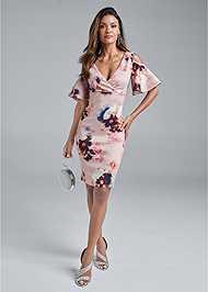 Full front view Cold Shoulder Floral Dress