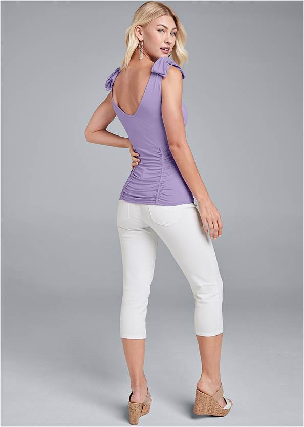 Full back view Ruched Tie Strap Top
