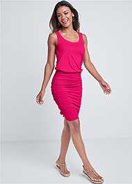 Full front view Scoop Neck Ruched Dress