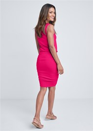 Full back view Scoop Neck Ruched Dress