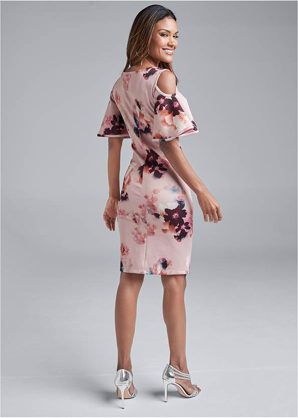 Full back view Cold Shoulder Floral Dress